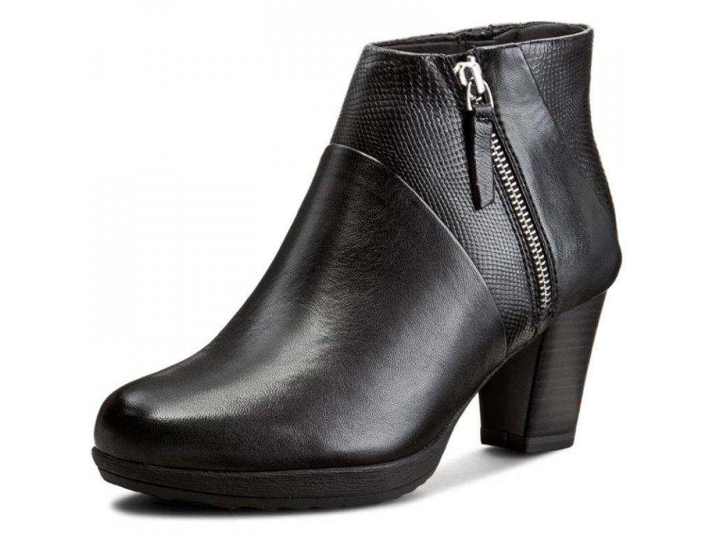 Tamaris Černá kotníková obuv na zip s podpatkem 7 cm