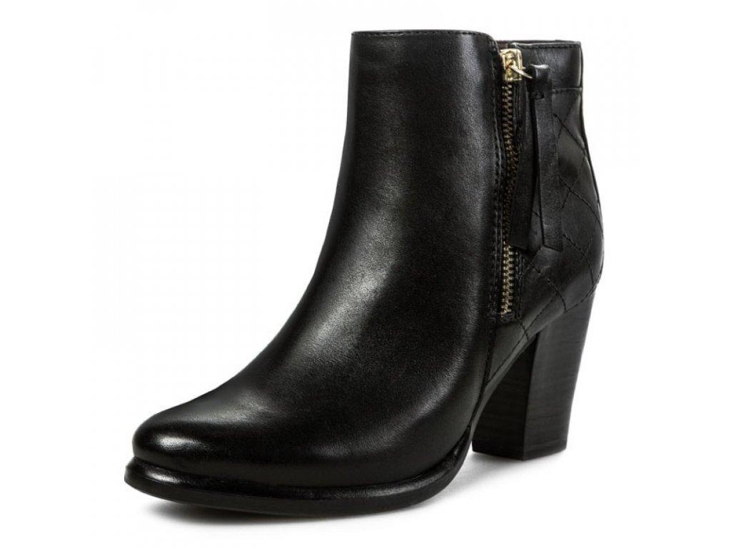 Tamaris Černá kotníková obuv s podpatkem 7 cm