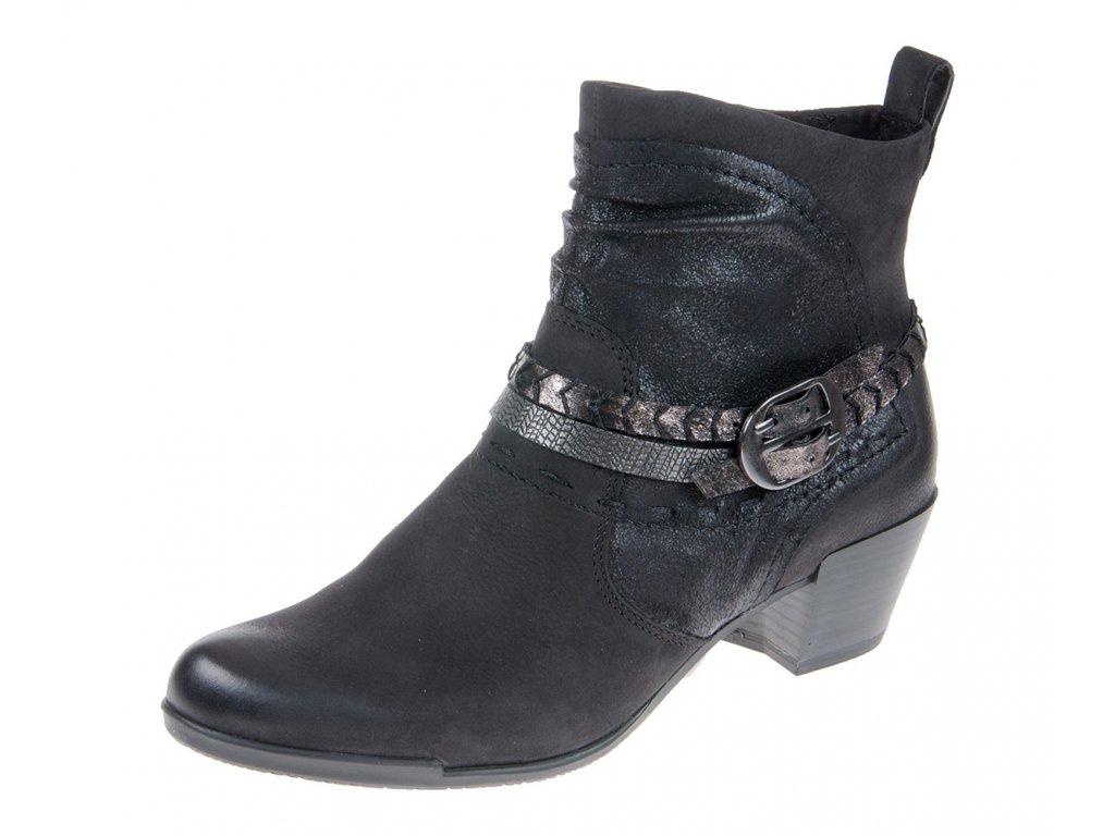 Tamaris Černá kotníková obuv zdobená páskama