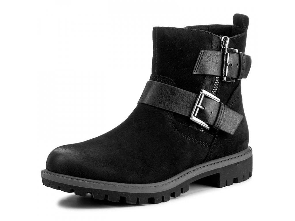 Tamaris Černé kotníkové boty s podpatkem 2,5cm