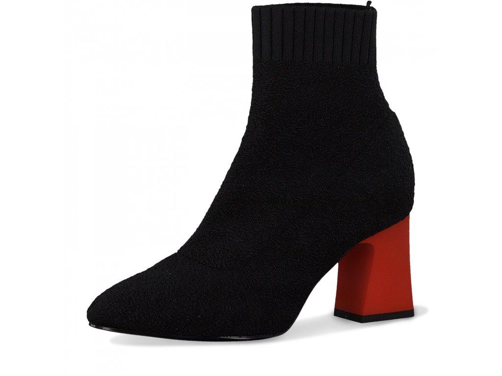 Tamaris Dámská kotníková obuv s červeným podpatkem