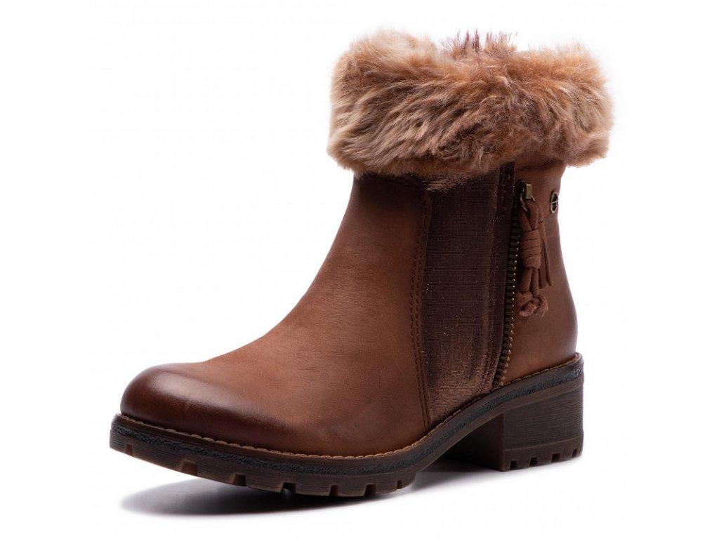 Tamaris Dámská kotníková obuv s kožešinovým lemem