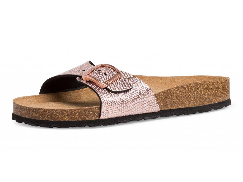 Tamaris Růžovo zlaté pantofle strukturované