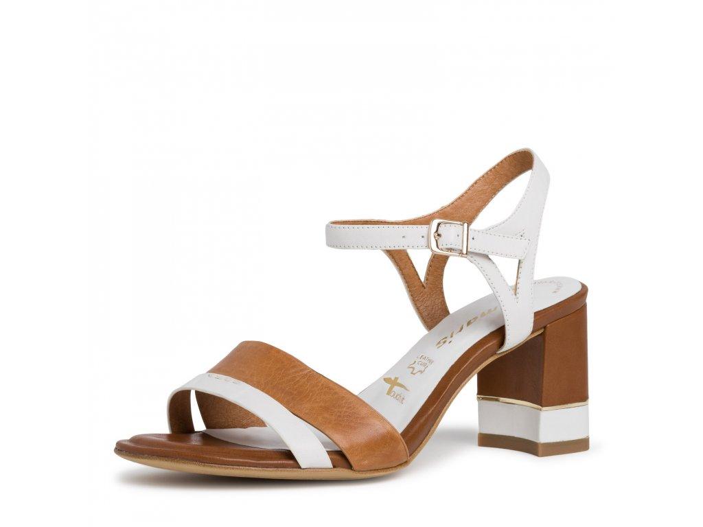 Tamaris sandály bílohnědé na podpatku 7,5 cm