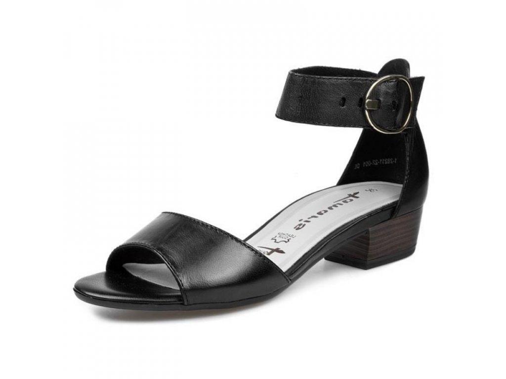 Tamaris Černé lakované sandály na podpatku 4,5 cm