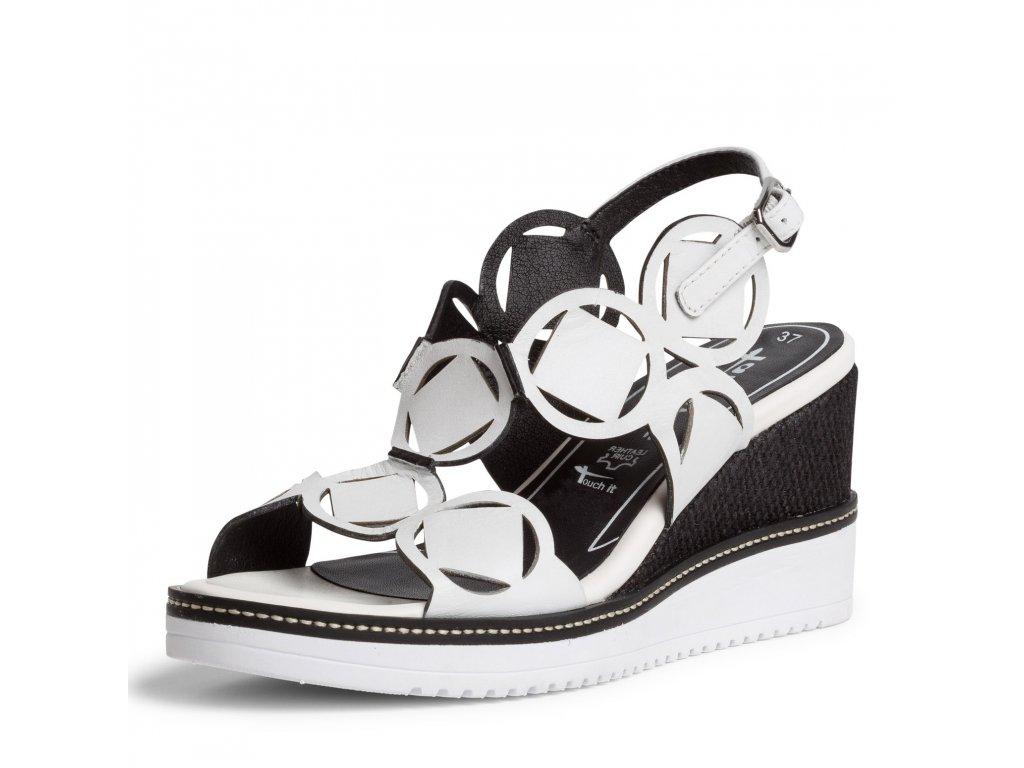 Tamaris Bílé kožené sandály zdobené na klínku 7,5 cm