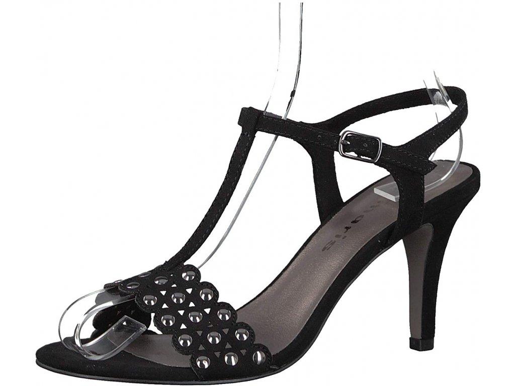 Tamaris Černé páskové sandály na podpatku 8cm