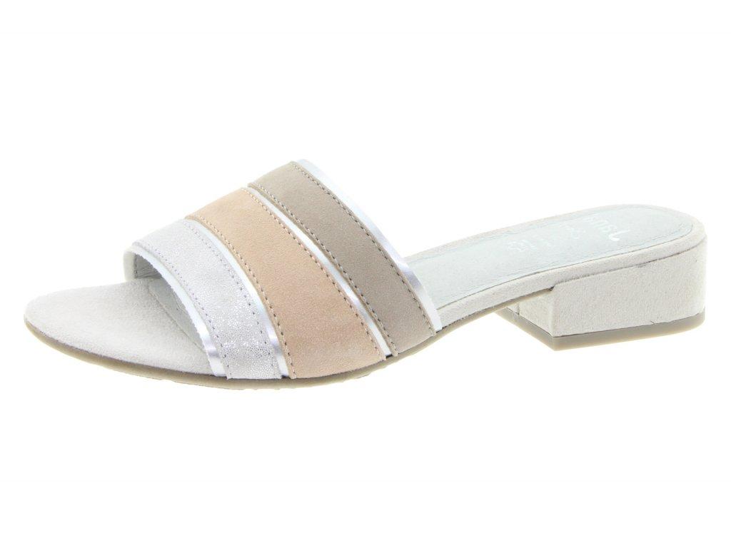 Jana Celokožené pruhované pantofle