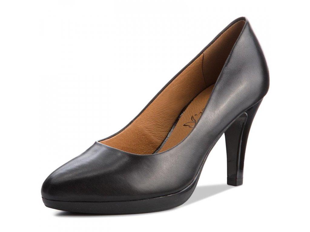 Caprice Černé elegantní kožené lodičky na podpatku 8,5cm