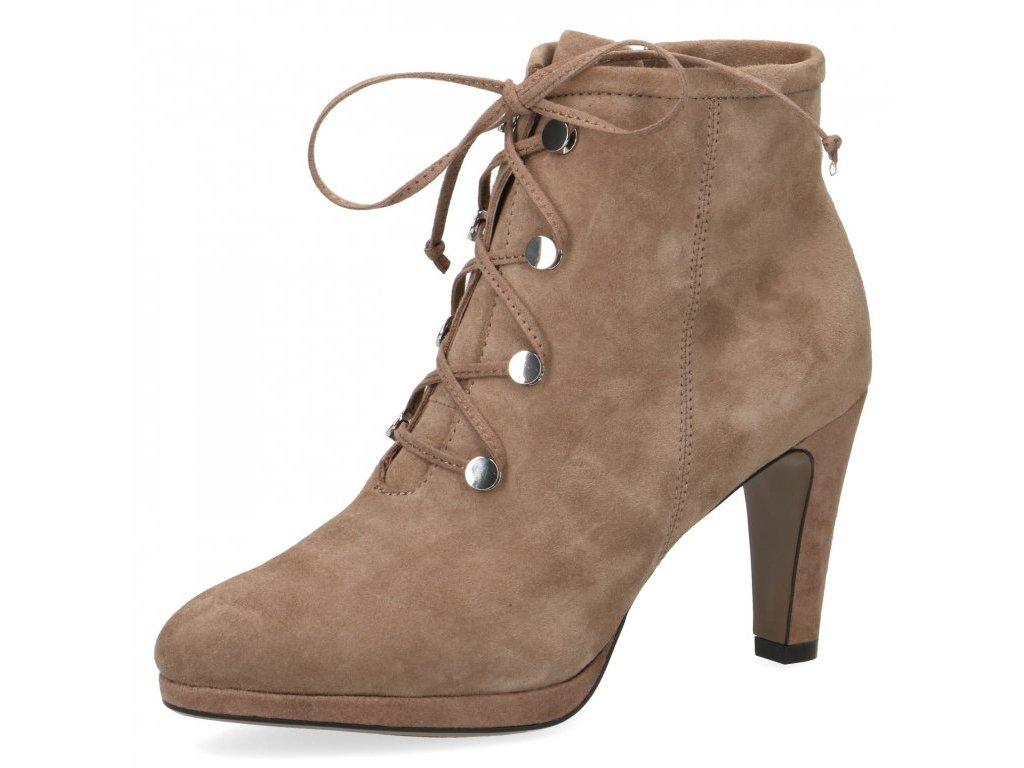 Caprice Světlé šněrovací velurové kotníkové boty s podpatkem 9 cm