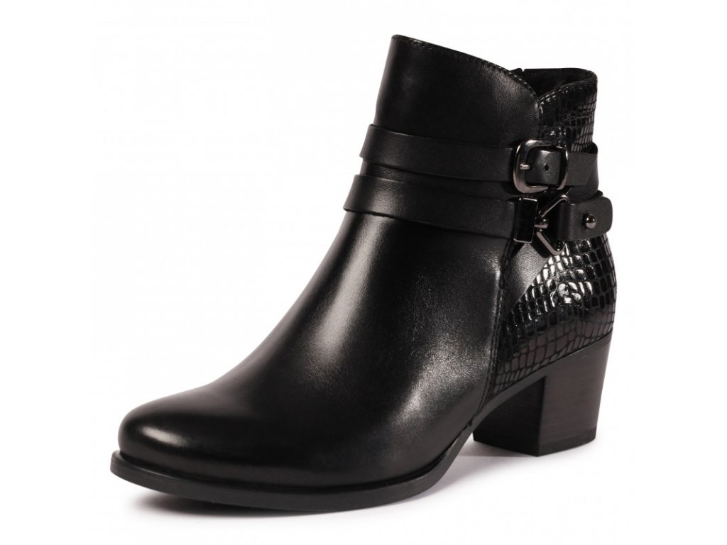 Caprice Černé kotníkové boty zdobené přazkou na podpatku 5,5 cm