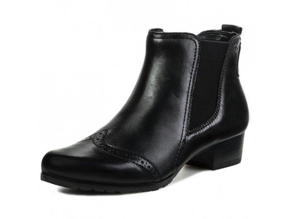 Caprice Černé kotníkové boty zdobené pásky a stříbrno špičkou