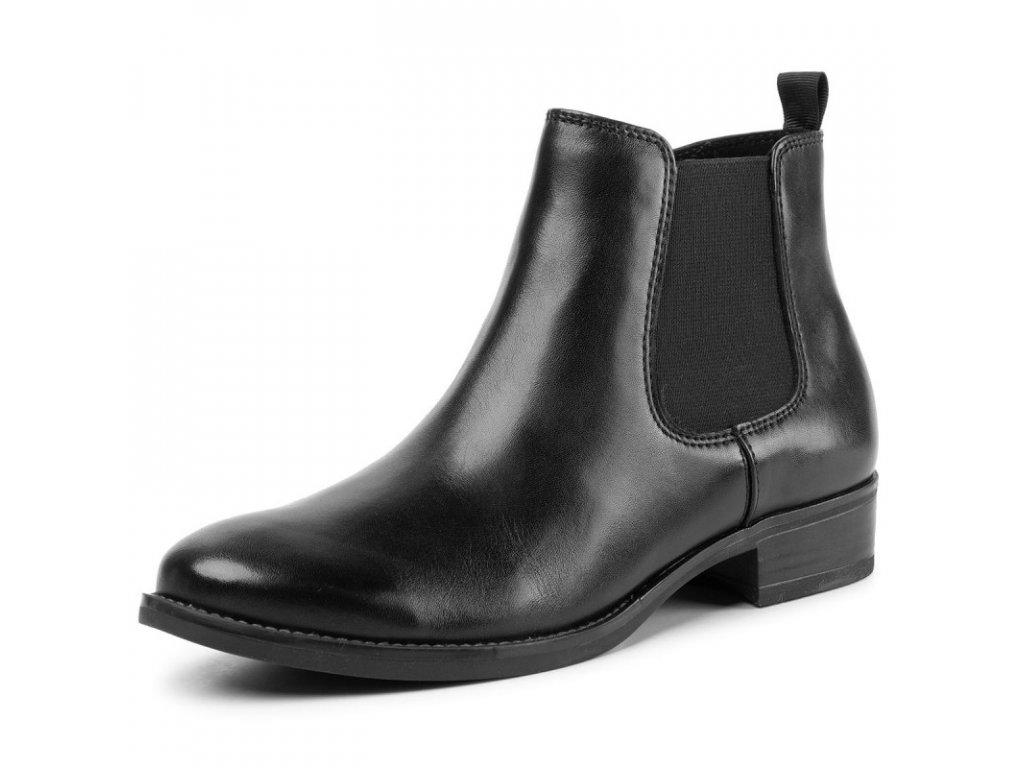 Caprice Černé kotníkové boty na podpatku 3cm