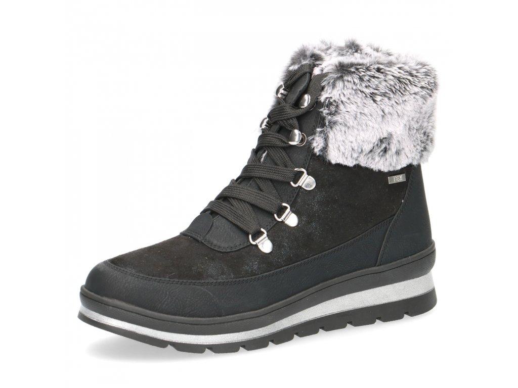 Caprice Černé zimní vyteplené šněrovací sněhule s ozdobným kožíškem