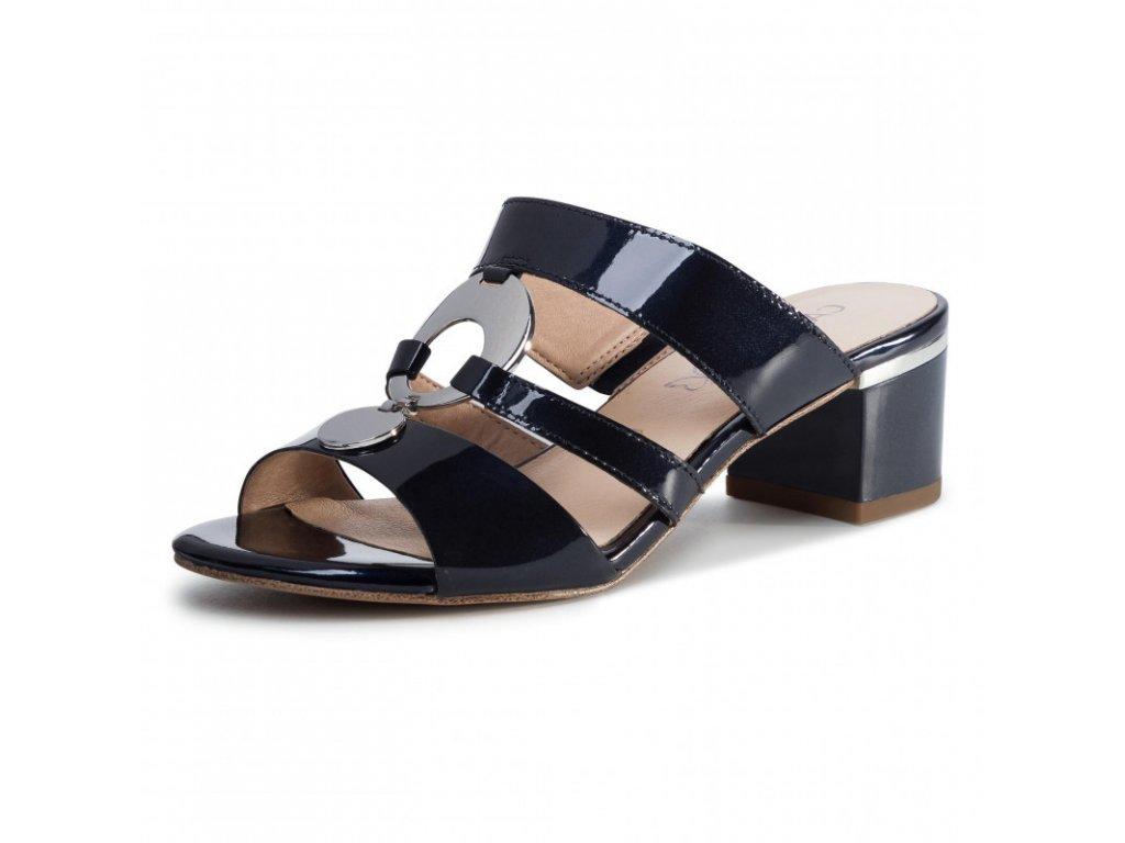 Caprice Modré lakované sandály zdobené na podpatku 5 cm