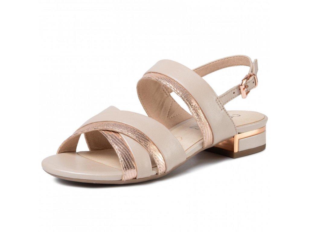 Caprice Béžovo růžové sandály na podpatku 2,5 cm