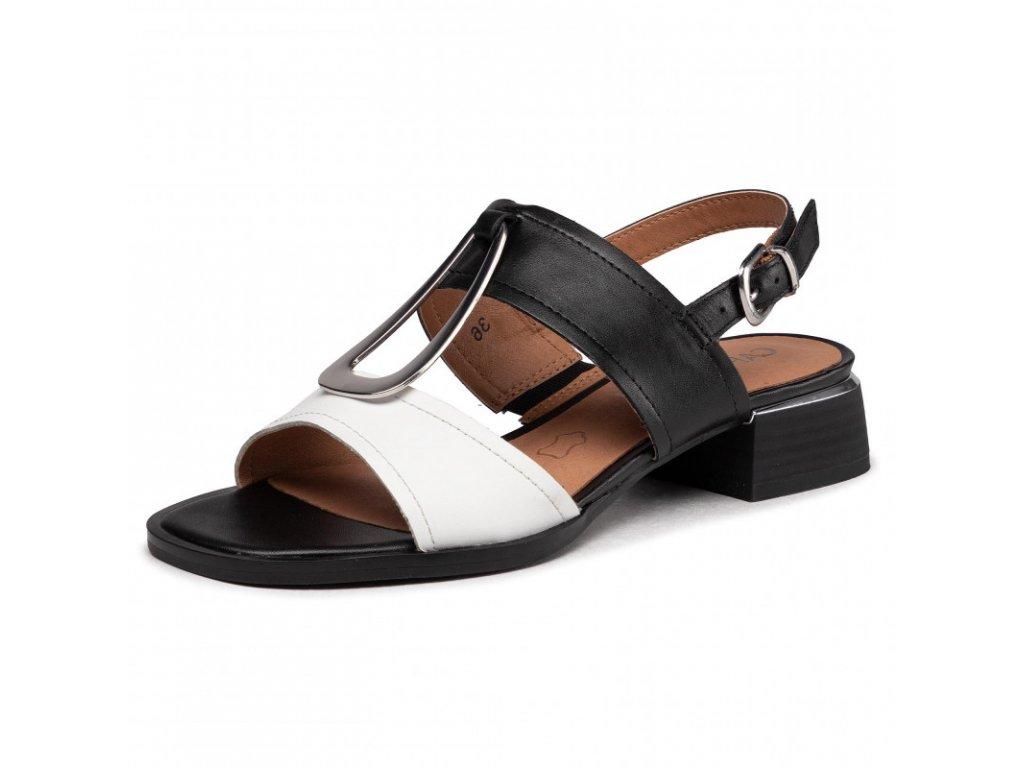 Caprice Bílo černé sandály zdobené sponou