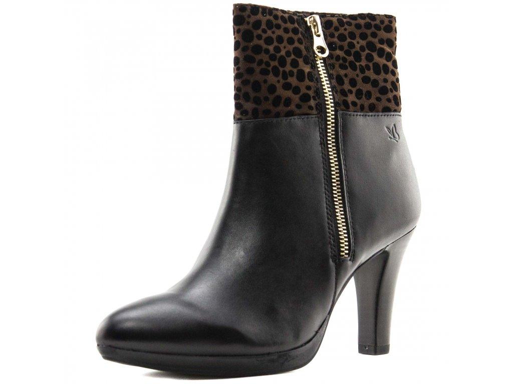 Caprice Černé kotníkové boty s gepardím vzorem