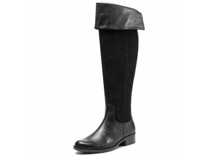 Caprice Černé vysoké kozačky nad kolena na podpatku 3 cm