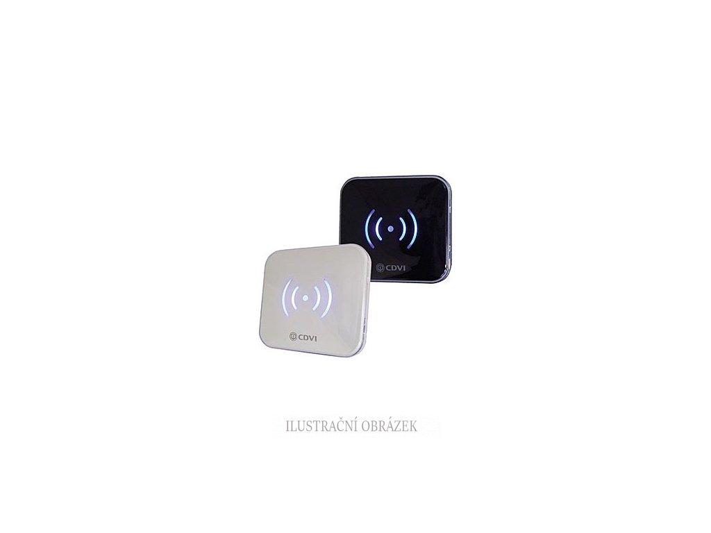 Vnitřní čtečka EM + HID Prox karet na elektroinstalační krabici s bílým a černým krytem