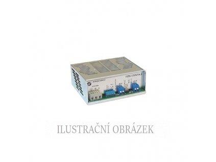Modul spínaného zdroje 13,8 Vss / 5 A s montáží na lištu DIN, dobíječem a odpojovačem AKU