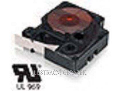 Kazeta s vinylovou páskou, černým potiskem, délkou pásky 5,5 m a šířkou 12 mm