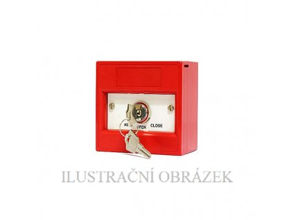 Červená ovládací skříňka se zámkem
