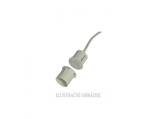 Magnetický závrtný čtyřdrátový kontakt do kovu o průměru 19 mm s pracovní mezerou 18 mm a kabelem o délce 5 m