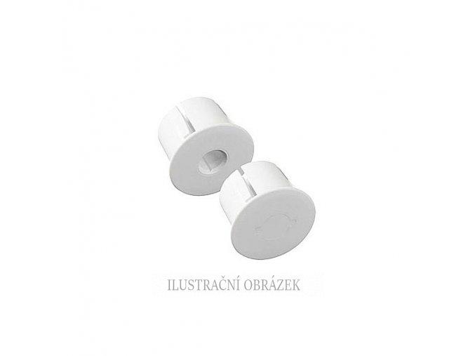 Pár bílých plastových přírub o průměru 25 mm, jedna se silnějším magnetem