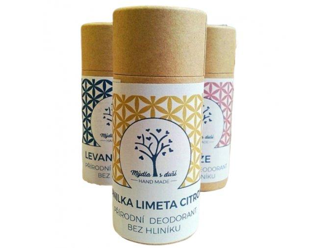 Mýdla s duší XXL přírodní deodorant vanilka-limetka-citron 65g  non toxic