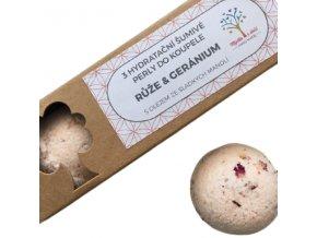 Mýdla s duší šumivé perly do koupele - růže a geránium 3ks