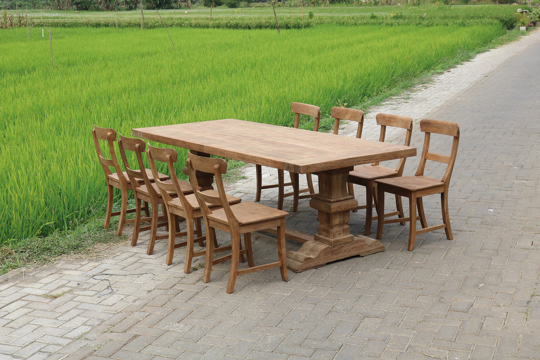 KVS DINING TABLE DENGKLEH 240CM SET MARYOTO CHAIR DENGKLEH