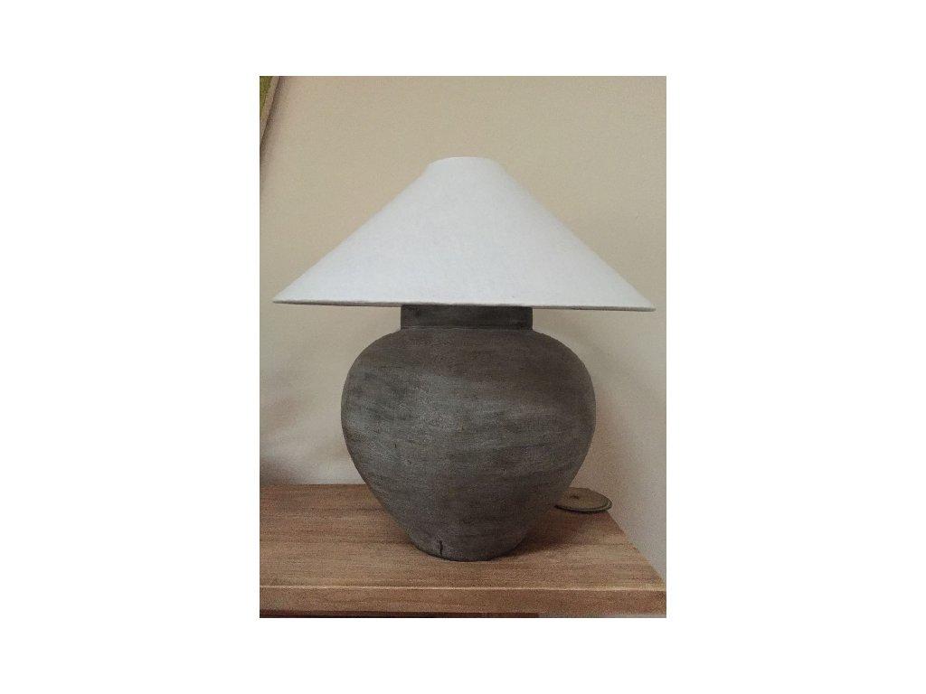 keramická lampa velká šedá