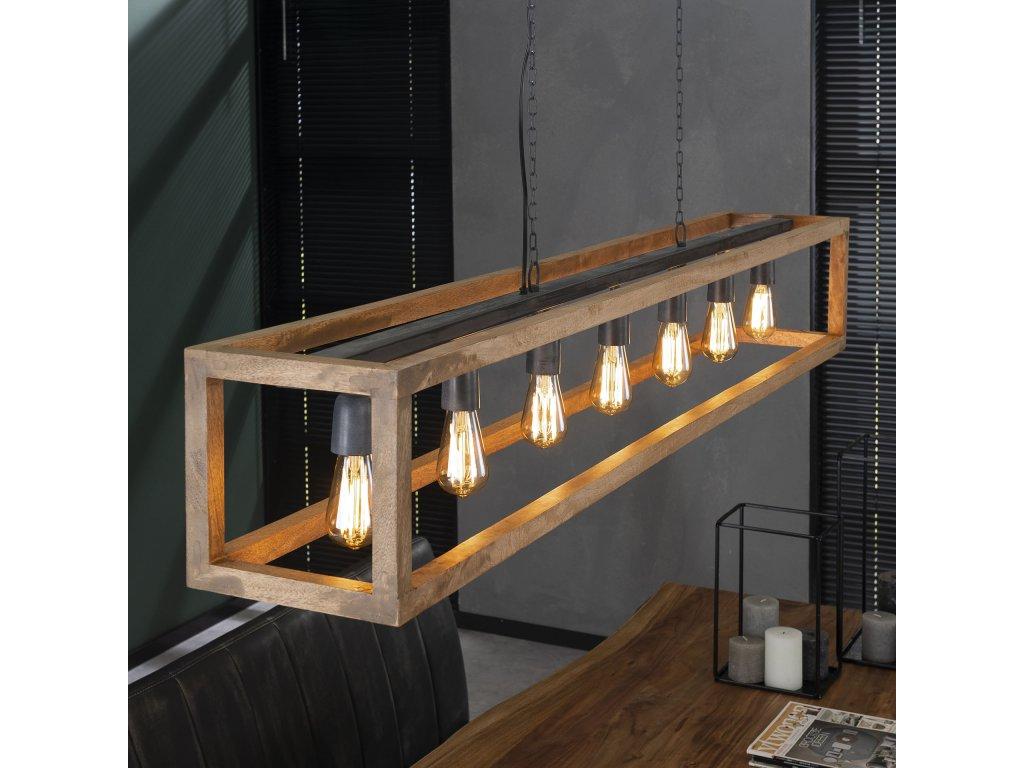 závěsná lampa obdélník 7 žárovek, dřevo mango
