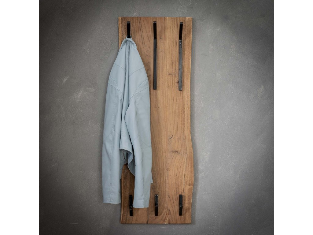 dřevěný věšák akácie edge 2x3 háčků, vysoký