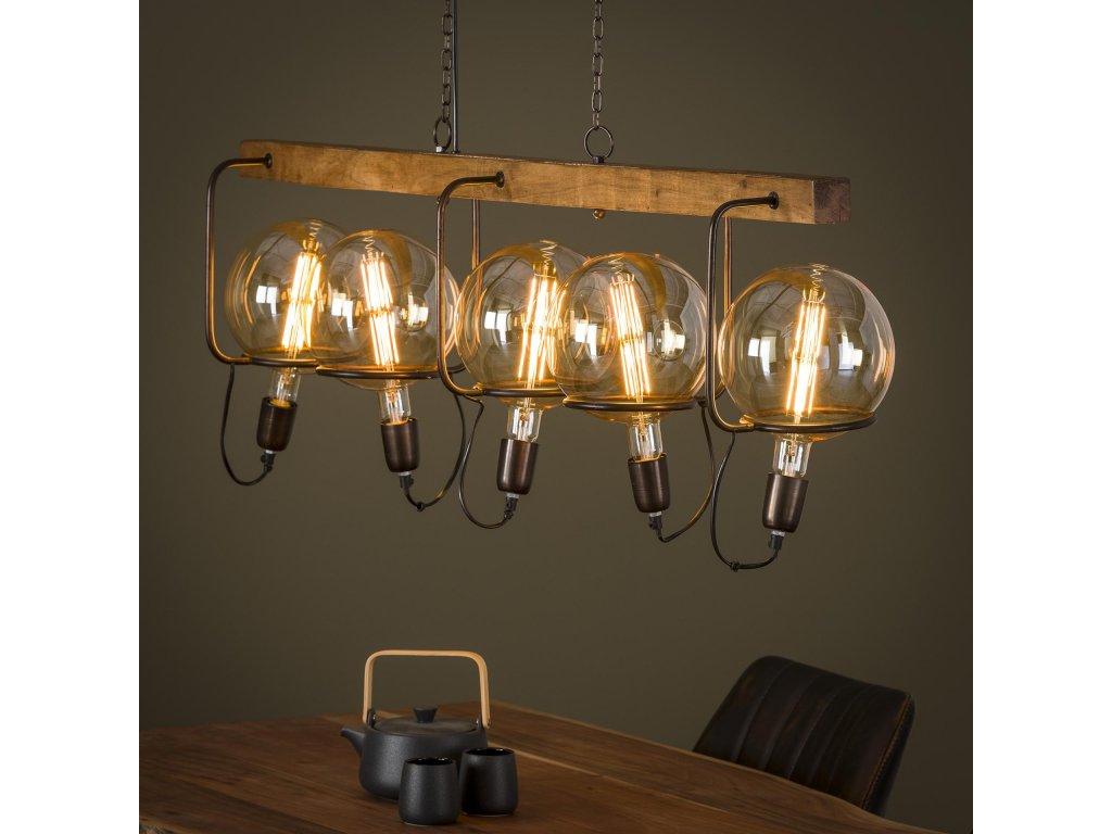 závěsná lampa SATURN WOOD na 5 žárovek, dřevo mango