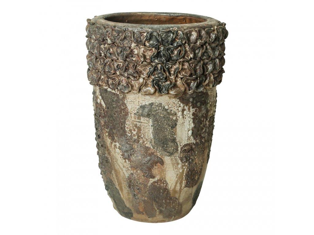 květináč CAY květinový okraj  vel.S- keramika šedá