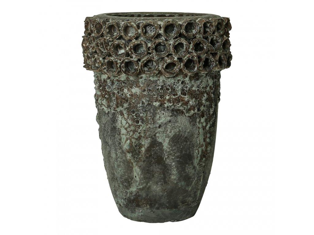 květináč SEVERO kolečka okraj  vel.S- keramika hnědorezavá