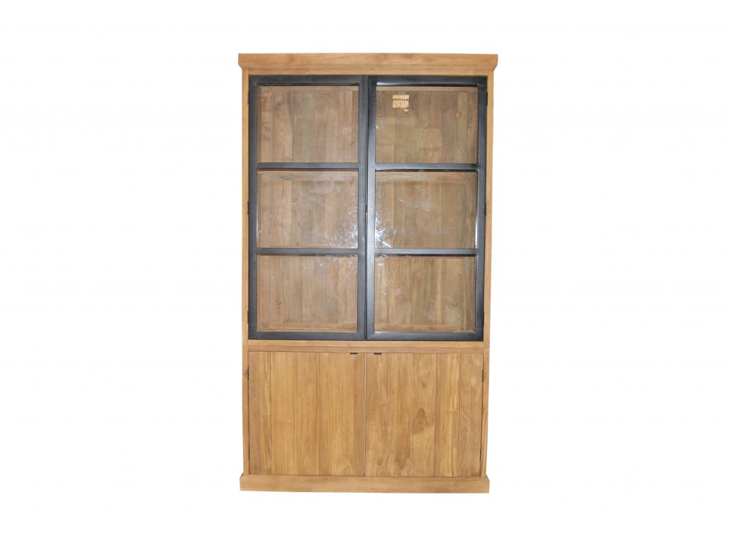 IRC001 Rustic Cabinet 4 swing door with Alu Black door, in Rustic Finish 130x45xH (1)