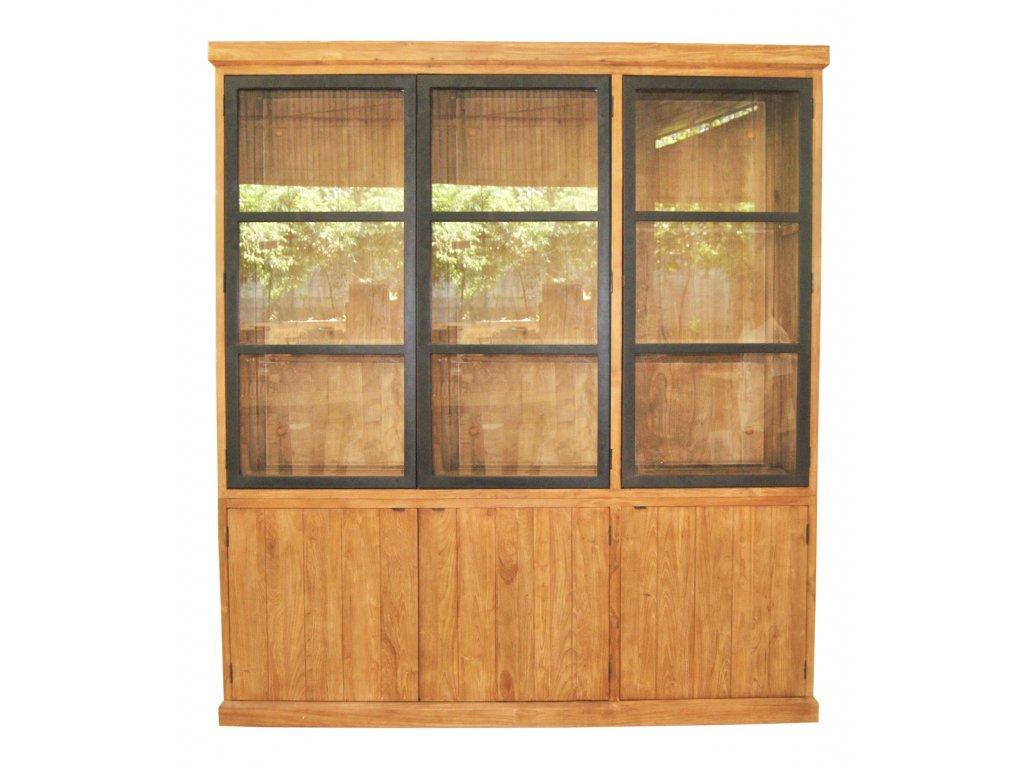 IRC002 Rustic Cabinet 6 Swing door with Alu Black door, in rustic finish 200x45xH (1)