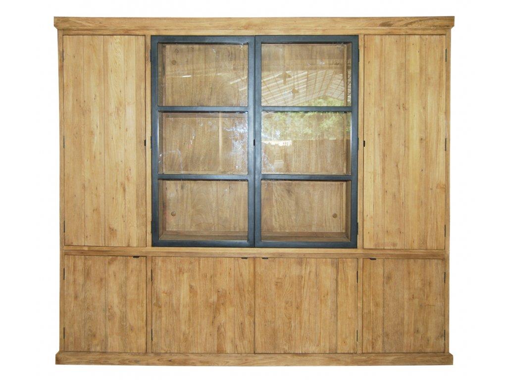 IRC003 Rustic Cabinet 8 Swing door with Alu Black Door, inRustic Finish 250x45xH (1)