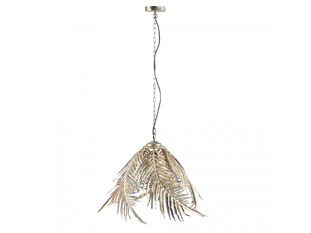 závěsná lampa LARA GOLD plamové listy- kovová-