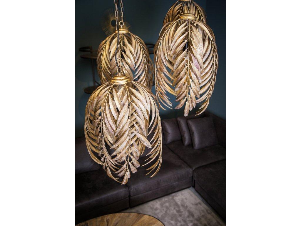 závěsná lampa MEA GOLD palmové listy- kovová-vel.M