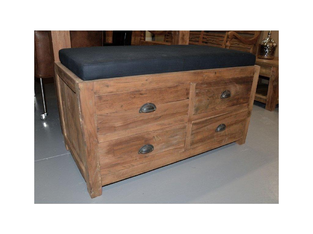 lavička s polstrem a šuplíky