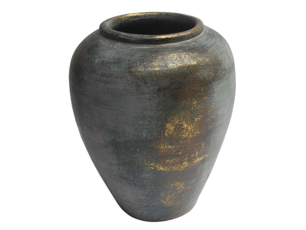váza široké hrdlo; zlatavá