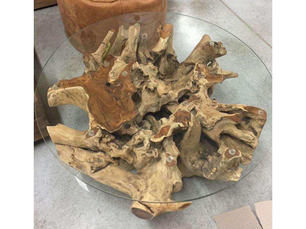 teakový konferenční stolek ROOT kulatý