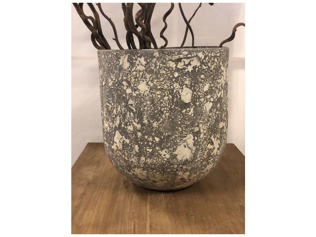keramická váza PALM šedá dia 46