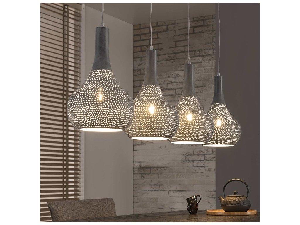 závěsné lampa 4x25cm perforované kužely