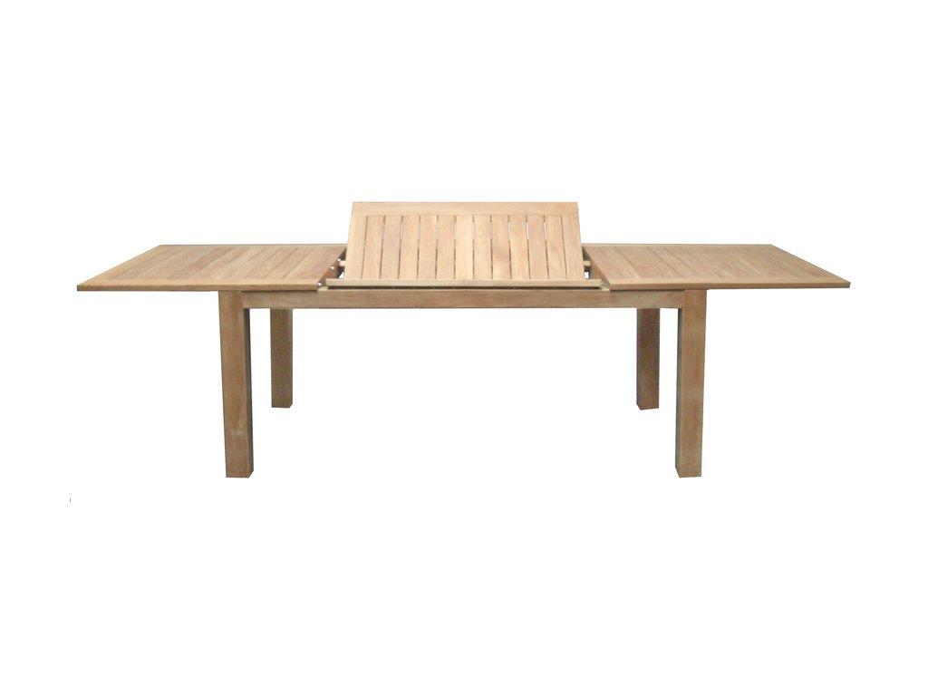 teakový zahradní stůl Rosselini 180-280x100; v - 77 cm