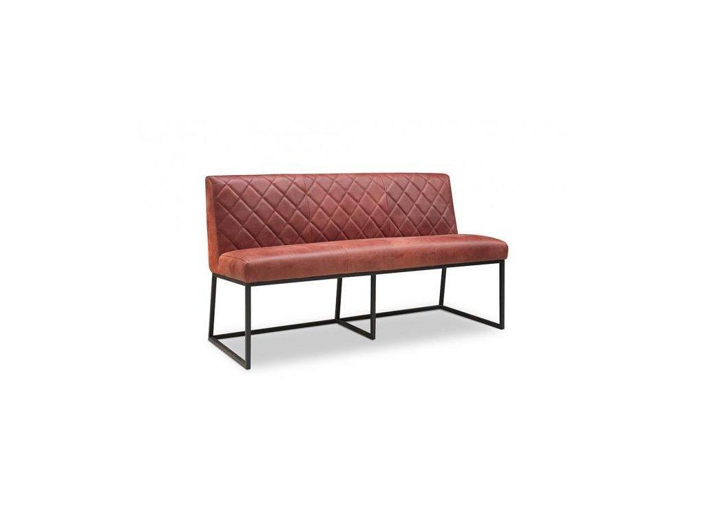 kožená polstrovaná lavice LARA prošívaná